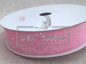 Атлас с цветочным кружевом  2.5 см, розовый