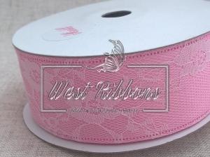 Атлас с цветочным кружевом  4 см, розовый