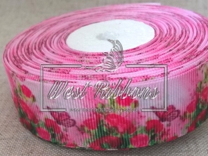 Репс 2.5 см Розы + бабочки на розовом NEW