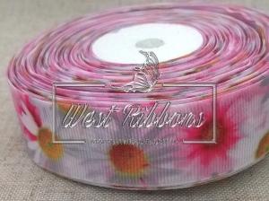 Репс 2.5 см Ромашки бело-ярко-розовые MEW