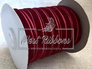 Лента велюр -мягкая 1 см, бордовая