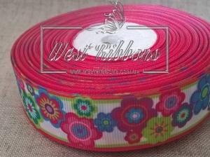 Репс 2.5 см Цветочки салатово-малиновый кант