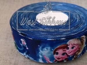 Репс 2.5 см Frozen на темно-синем со снеговиком №10