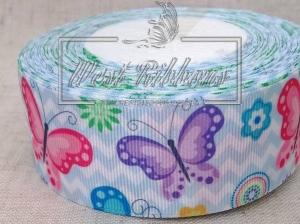 Репс 4 см Бабочки на голубом шевроне