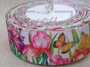 Репс 4 см Ирис + бабочка на белом