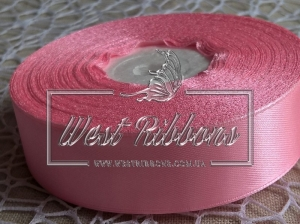 Атлас 2.5 см ярко-розовый 005  -РУЛОН