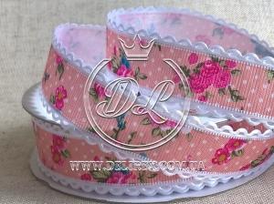 """Репс 2.5 см """"Кружевной край""""  розовый"""