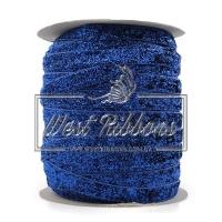 Лента велюр с люрексом, темно- синяя