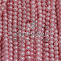 Жемчуг на леске 6 мм СТЕКЛО, св.розовый