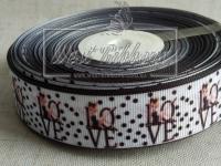 Репс 2.5 см , LOVE в черный горох на белом ^