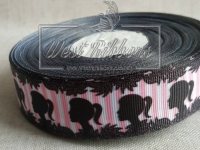 Репс 2.5 см  Девочка на ярко-розовых полосках (школа) ^