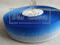 "Репс 2.5 см ""Глиттерный кант"", темно- синий (серебро)"