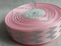 """Репс 2.5 см """"Шеврон глиттер"""", серебро на розовом"""