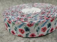 Репс 2.5 см Весенний Принт, малиновые цветочки на белом