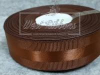 Репс с атласной полосой 2.5 см, коричневый