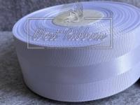 Репс 4 см с атласной полосой, белый