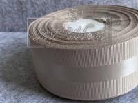 Репс 4 см с атласной полосой, кофейный