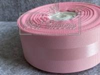 Репс 4 см с атласной полосой, розовый