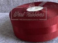 Репс 4 см с атласной полосой, темно-красный