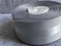 Репс 4 см с атласной полосой, серый