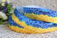 Репс 2.5см сине -желтые хризантемы