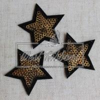 Аппликация звездочка с пайеткой , золото (портной)