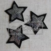 Аппликация звездочка с пайеткой ,серебро (портной)