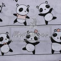 """Ткань """" Панда """"  на сером"""