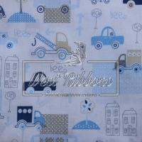 """Ткань """"Машинки""""  , голубые на белом"""