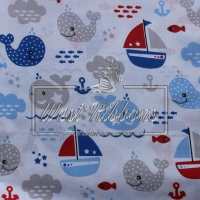 """Ткань """"Дельфины + кораблики """" на белом"""