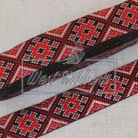 УКР.орнамент 2.8 см, темно-красная, на черном