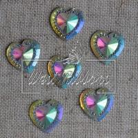 С-ка сердце огранка  16 мм , серебро-перламутр