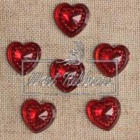 Серединка сердце огранка 14 мм , красная-1шт.