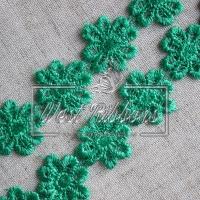 """Кружево """"Цветок отрывной""""  2.5 см, зелёное"""