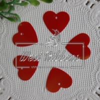 Пайетки -сердечки, красные