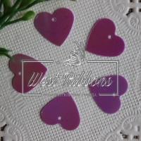 Пайетки -сердечки,фиолетовые