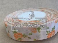 """Атлас  """"Розочка"""" 2.5 см , оранжевая"""