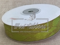 Атлас + кружево 2.5 см , оливковое