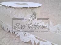 """Ажур """"Лебеди-свадебные""""- молочный отрезок 3.75 м."""