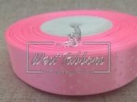 Атлас в Горох  4 см, светло-розовый