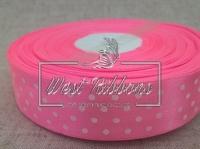 Атлас в Горох  4 см, ярко-розовый