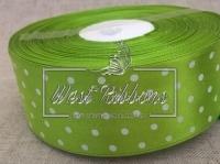 Атлас в Горох  4 см, оливковый