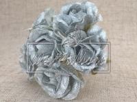 """Роза тканевая 2.5 см """"Блеск """", серебро"""