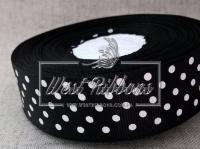 Репс в Горох 2 .5 см, черный в белый горох 039