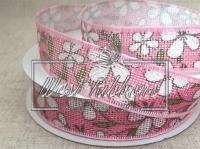 "Лента из мешковины ""Цветок"" 2.5 см, розовая"