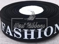 Репс 2.5 см надпись FASHION ,на черном