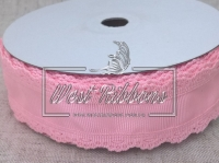 "Репс  ""Ажурный кант"" 3.5 см, розовый"