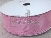 """Атлас """"Ажурный кант""""  3.5 см, розовый"""