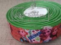 Репс 2.5 см Frozen салатово-оранжевый кант № 12