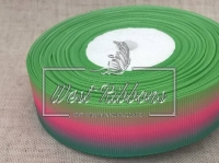 Репс Градиент 2.5 см, зелёный-малина-салат
